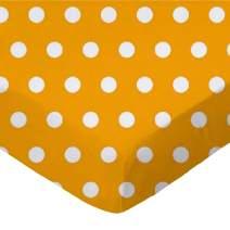 SheetWorld Fitted Portable / Mini Crib Sheet - Polka Dots Gold - Made In USA