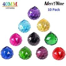 MerryNine Mixed Colorful Crystal Ball Prism with Drilled Hole Suncatcher Rainbow Pendants Maker, Hanging Crystals Prisms for Windows, for Feng Shui, for Gift(PrismBall-40mm Colorful)