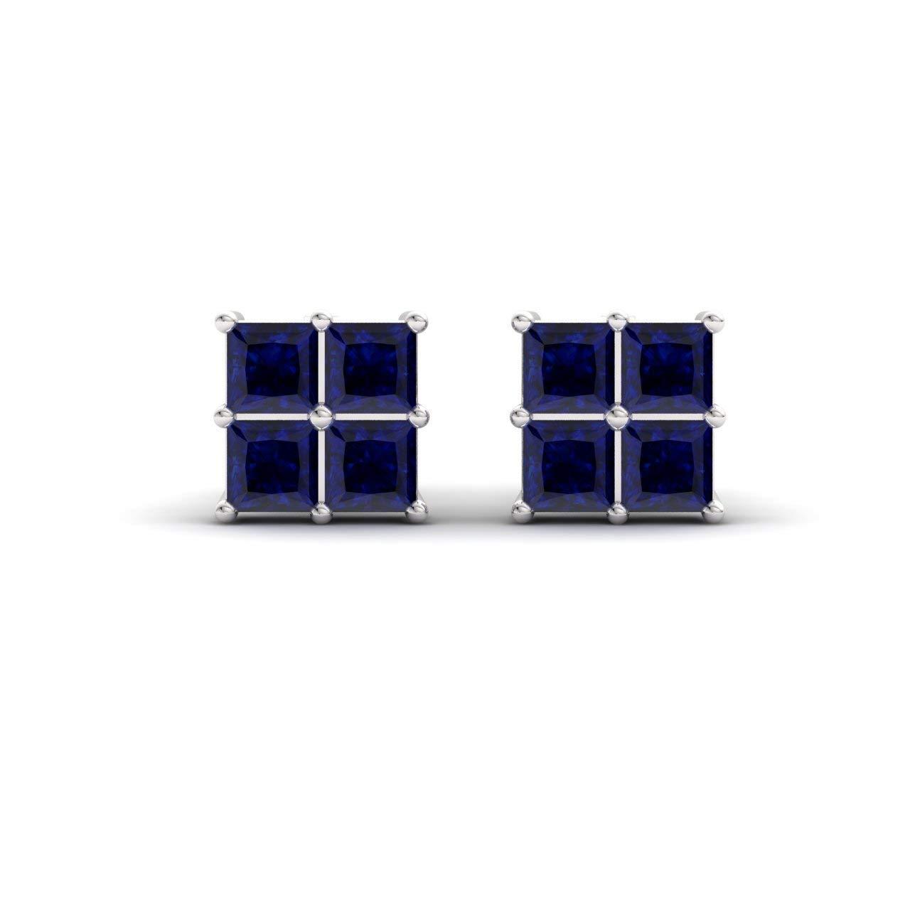 Diamondere Natural and Certified Princess-Cut Gemstone Petite Stud Earrings in 14K Solid Gold | 0.53 Carat Earrings for Women
