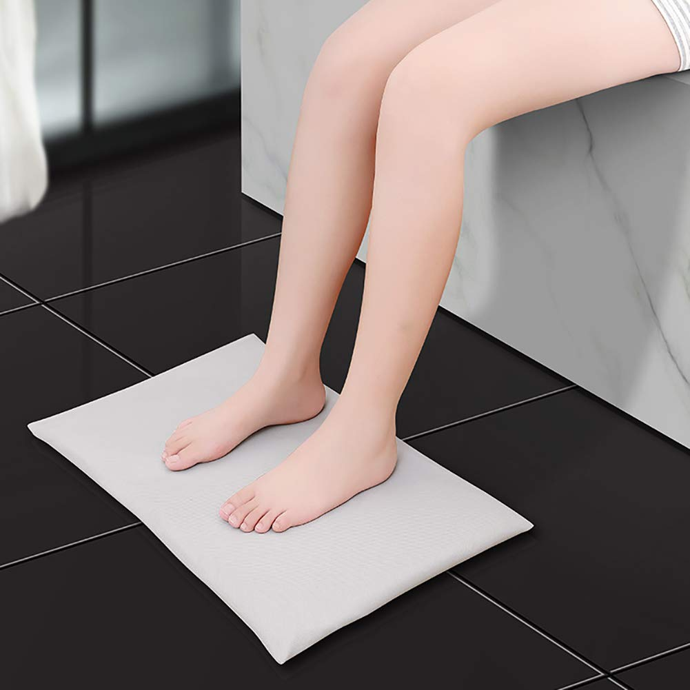 Poncho Diatomaceous Earth Soft Bath Mat 21.7''x13.8'' Absorbent Fast Water Drying Diatomite Mat for Bathroom Safe for Children and Elderly(Light Gray)