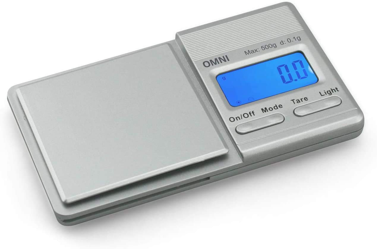 Truweigh - OMNI Digital Mini Scale - 500g x 0.1g Silver and Long Lasting Portable Grams Scale for Kitchen Scale, Food Scale and Postal Scale Use