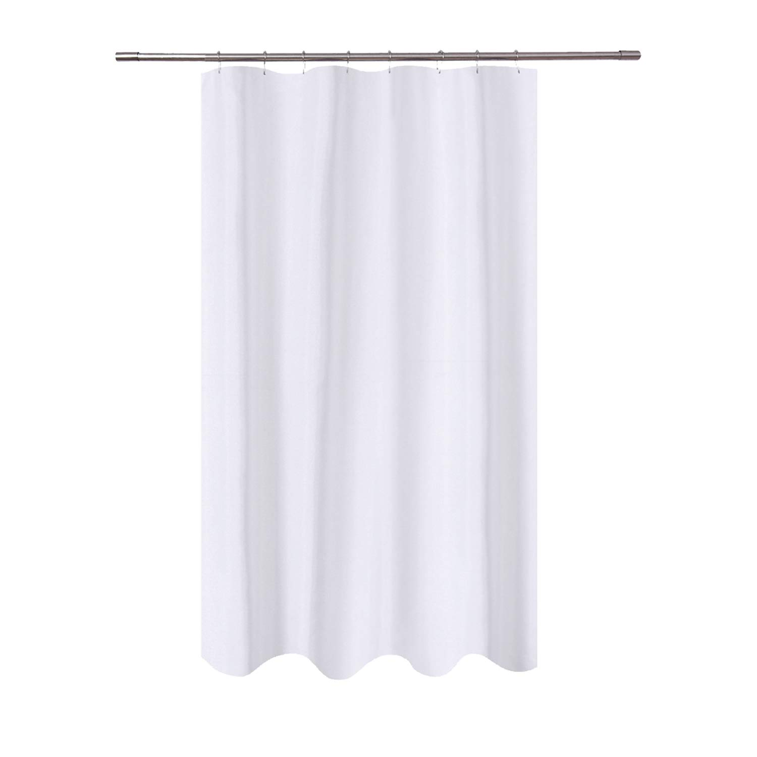 N&Y HOME Fabric Shower Curtain Liner 48 x 72 inches Bath Stall Size, Hotel Quality, Washable, Water Repellent, White Spa Bathroom Curtains with Grommets, 48x72