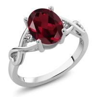 Gem Stone King 925 Sterling Silver Red Rhodolite Garnet and White Diamond Women Ring (2.06 Ct Oval, Available in size 5, 6, 7, 8, 9)