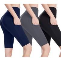 we fleece Pocket Yoga Shorts for Women Athletic Workout Running High Waist Tummy Control Non See-Through Soft Legging
