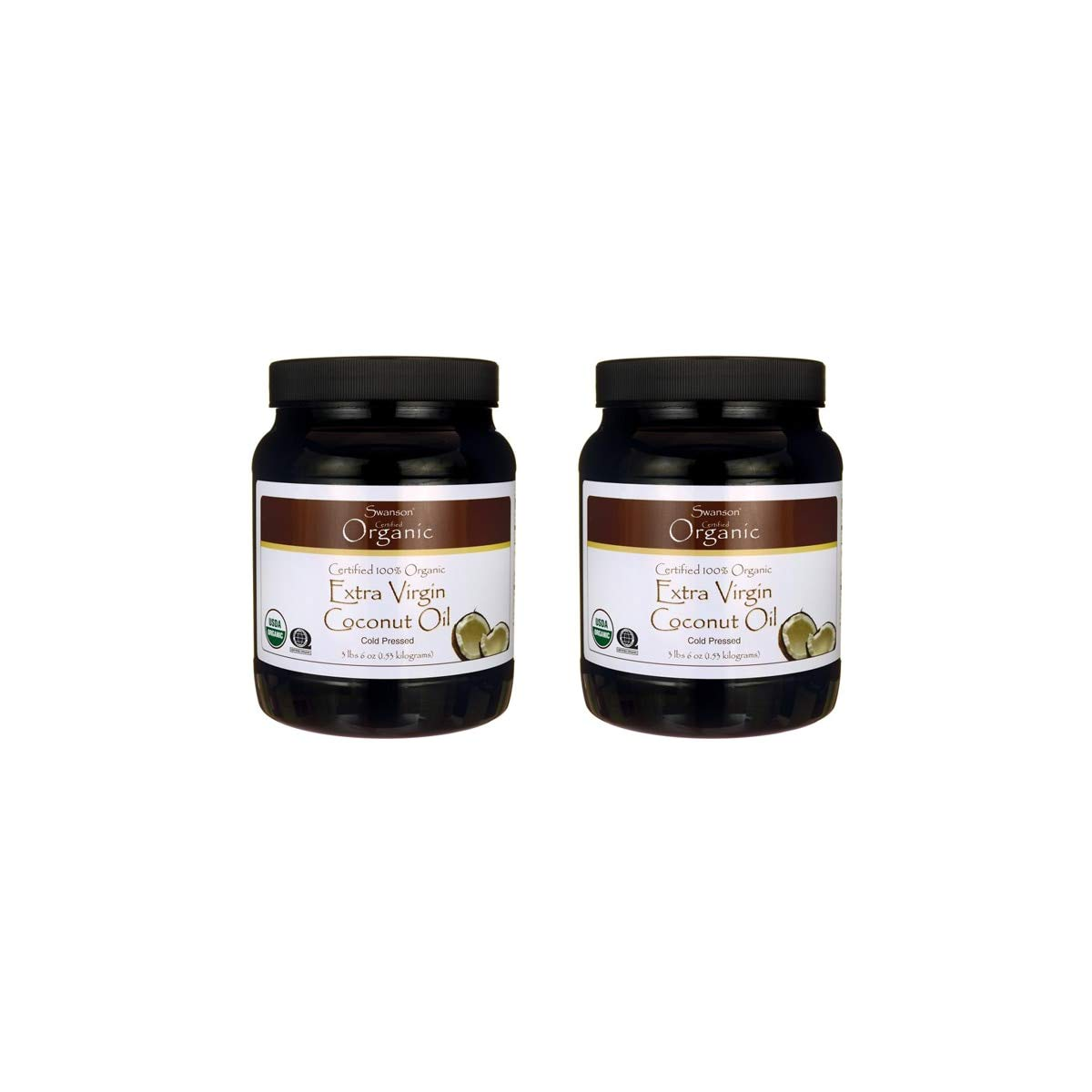Swanson 100% Certified Organic Coconut Oil Cooking Baking Frying Beauty EFAs MCTs 3 lbs 6 Ounces (1.53 kg) Solid Oil (2 Pack)