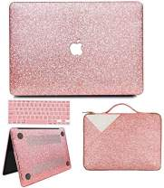 """Anban MacBook Air 13 inch Case, Glitter Bling Smooth Protective Case & Glitter Laptop Sleeve & Keyboard Cover Compatible with MacBook Air 13"""" 2010 - 2017 Release A1466 A1369, Shining Rose Gold"""