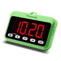 DreamSky Digital Kitchen Timer with Large Red Number Display, Count Up/Down Timer, Magnetic Back Foldout Stand, Battery Operated Timer for Cooking BBQ Sports, Easy Operation.