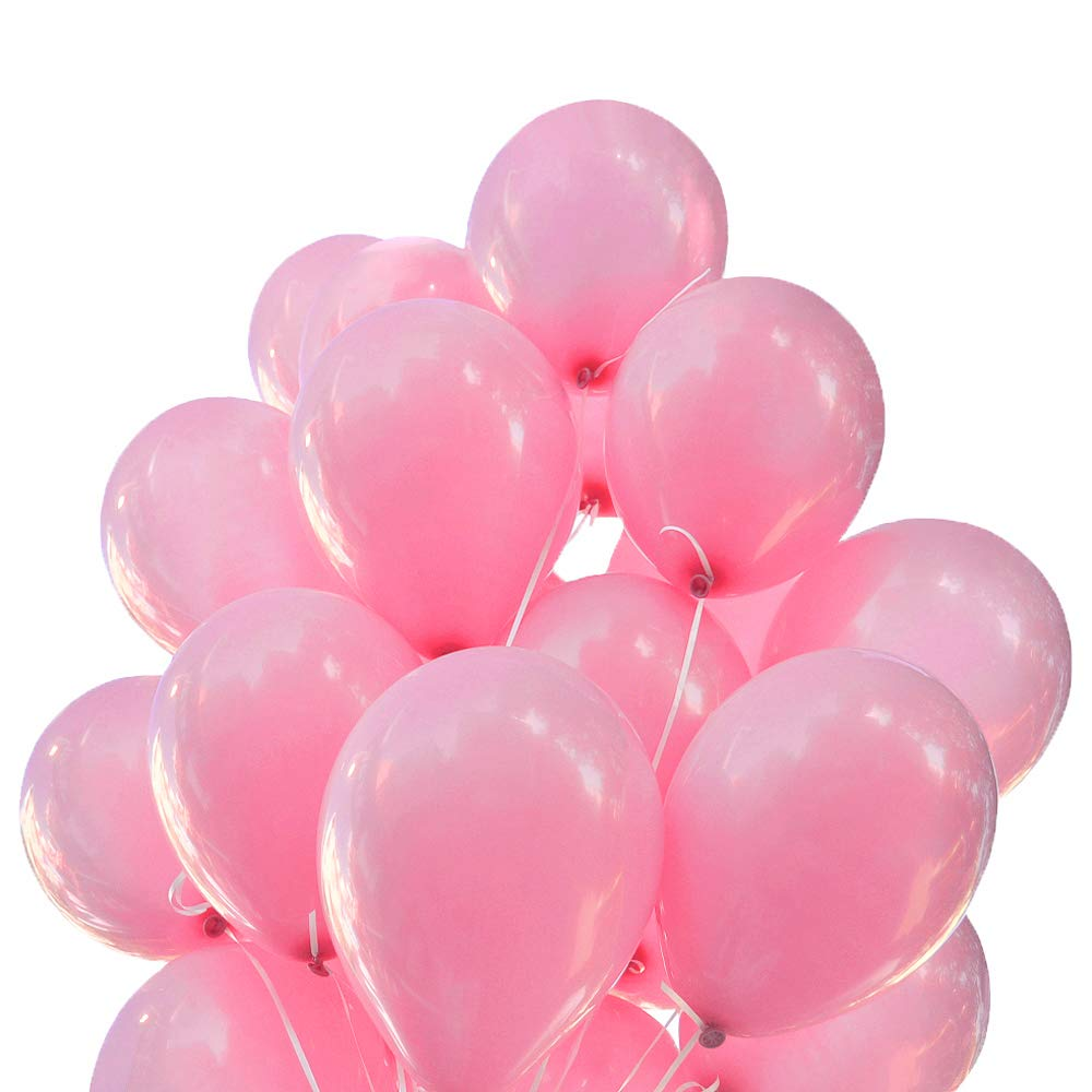 PIXRIY 12 Inch Thicken Pearlescent Pink Pearl Latex Balloon,Birthday Wedding Party Decoration Supplies,Pack of 100