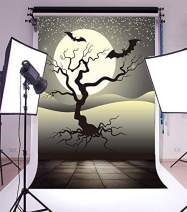 Baocicco Halloween Cartoon Full Moon Background 5x6.5ft Photography Background Haunted Tree Flying Bats Starry Sky Tile Floor Backdrop Horror Halloween Night Children Trick Or Treat