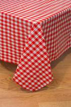 BRODER MFG. INC. - Red Check 42 Round Elastic, Vinyl Flannelback - Wipeable, for Everyday use Indoors & Outdoors