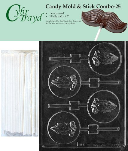 Cybrtrayd Praying Hands Lolly Chocolate Candy Mold with 25 4.5-Inch Lollipop Sticks and Exclusive Cybrtrayd Copyrighted Chocolate Molding Instructions