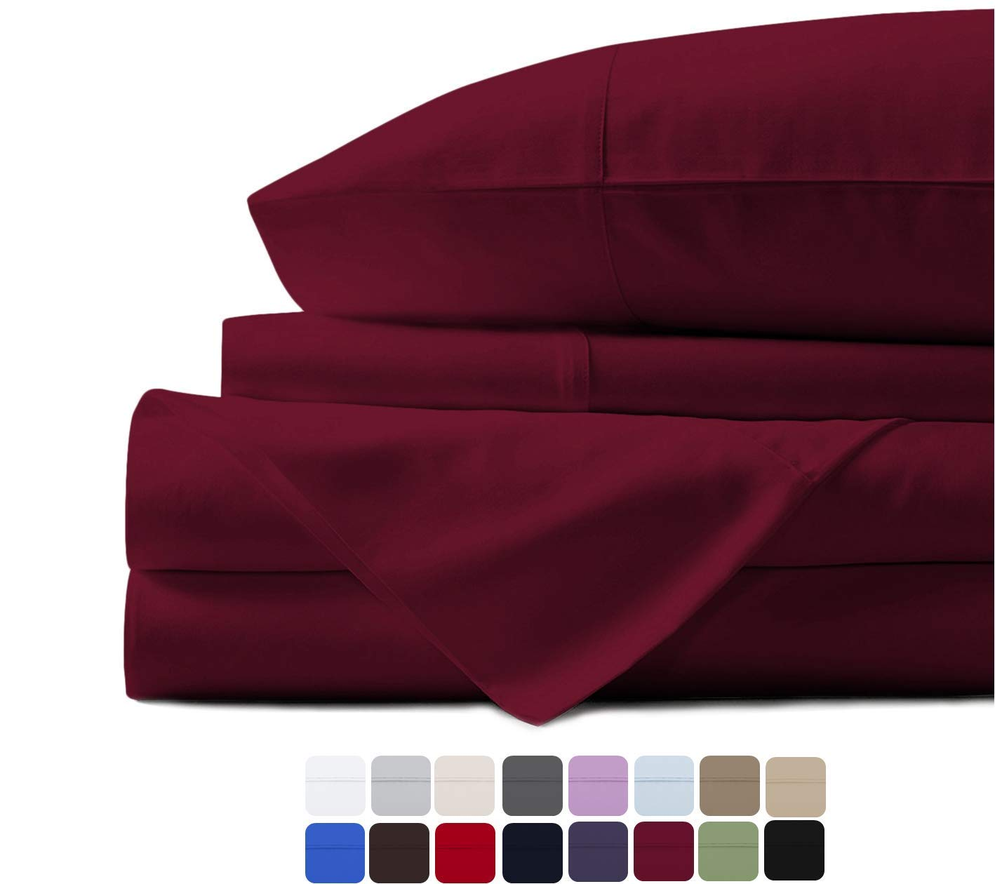 500 Thread Count 100% Cotton Sheet Burgundy King Sheets Set, 4-Piece Long-staple Combed Pure Cotton Best Sheets For Bed, Breathable, Soft & Silky Sateen Weave Fits Mattress Upto 18'' Deep Pocket