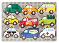 Melissa & Doug Vehicles Mix 'n Match Wooden Peg Puzzle (9 pcs)