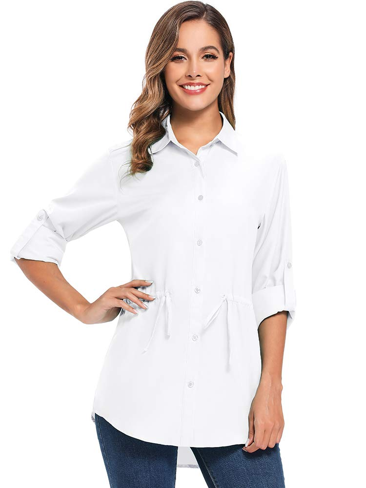 Women's UPF 50 Long Sleeve Sun Protection Shirts Quick Dry Outdoor Fishing Hiking Travel Shirt