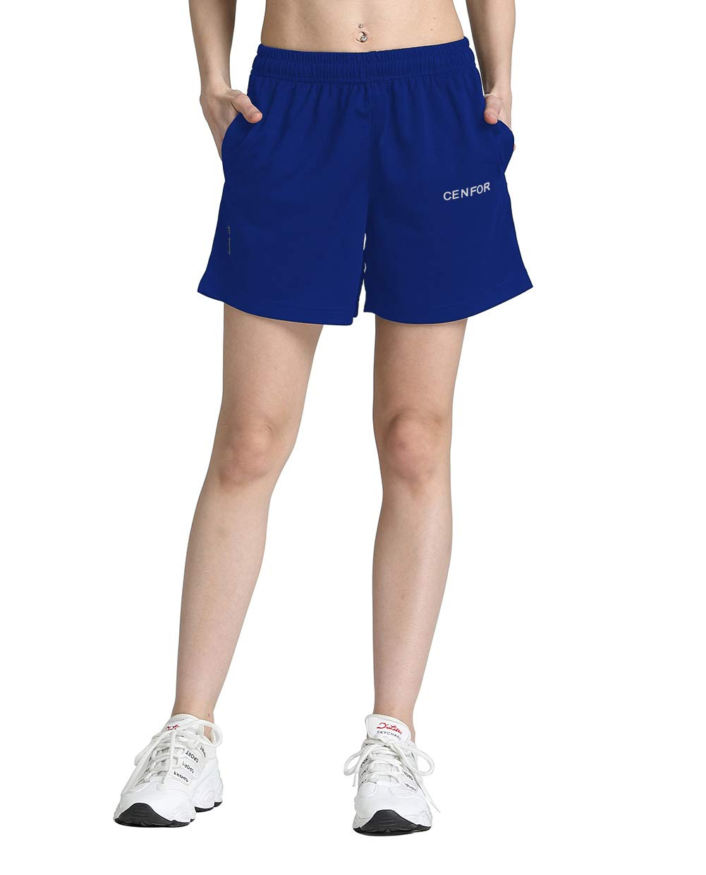 """CENFOR Women's 5"""" Quick Dry Workout Running Shorts with Pockets for Gym, Training, Jogging and Leisure"""