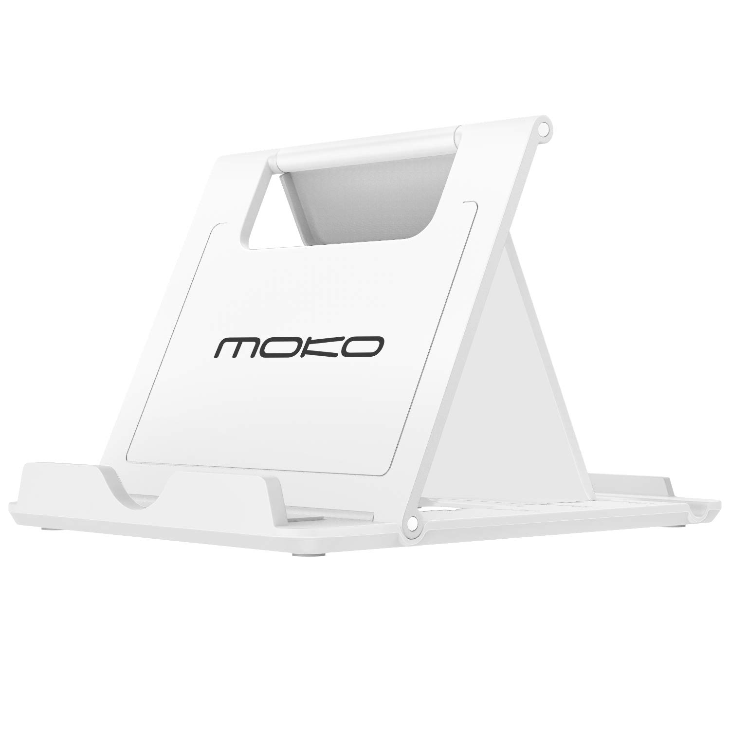 """MoKo Phone/Tablet Stand, Foldable Desktop Holder Fit with iPhone 11 Pro Max/11 Pro/11, iPhone Xs/Xs Max/Xr/X, iPhone SE 2020, iPad Pro 11 2020/10.2/Air 3/Mini 5, Galaxy S20 6.2"""", White(Small Size)"""