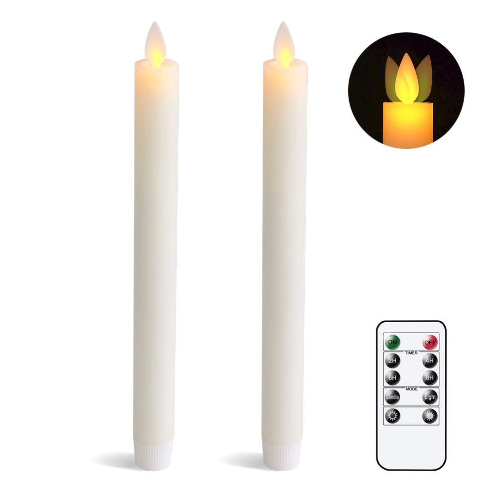 """Eldnacele Flameless Flickering Taper Candles Moving Wick Window Candles with Remote Control Timer, Warm White Real Wax Unscented 9.5""""2 Pack Ivory for Christmas"""