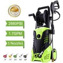Homdox 2880PSI Pressure Washer 1.70 GPM 1800W Electric Power Washer with Hose Reel,5 Quick-Connect Spray Tips(Green)