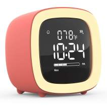 Kids Alarm Clock, Cute-TV Night Light Alarm Clock for Kids, Girls, Children, Bedroom, Rechargeable Battery Operated Alarm Clock with Sleep Timer, Indoor Thermometer – Living Coral