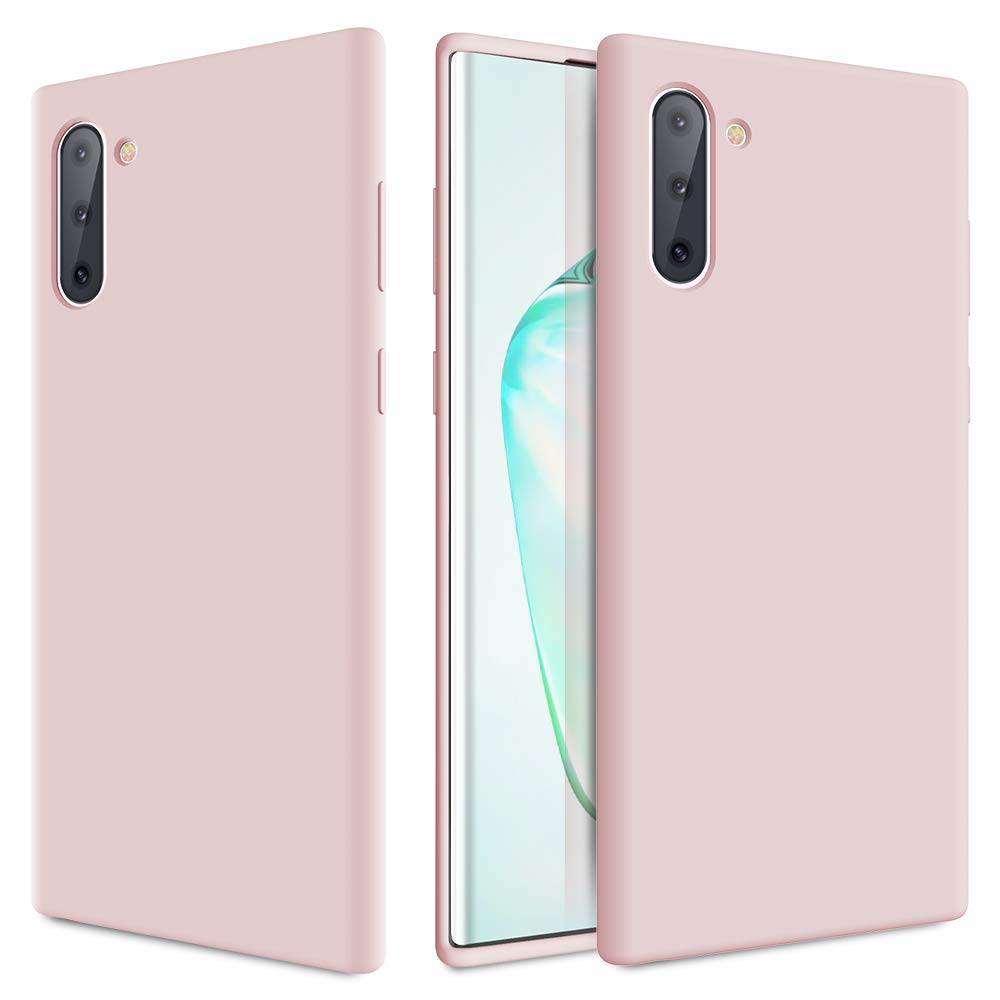 Caka Galaxy Note 10 Case, Galaxy Note 10 Liquid Silicone Case Gel Rubber Soft Slim Girly Luxury Microfiber Cloth Lining Cushion Cute Protective Case for Galaxy Note 10 (Pink Sand)