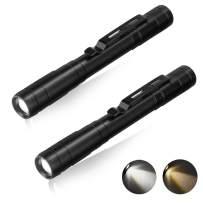 2 Pack LED Pen Light Flashlight, Pocket EDC Flashlights for Inspection, Repair, Camping