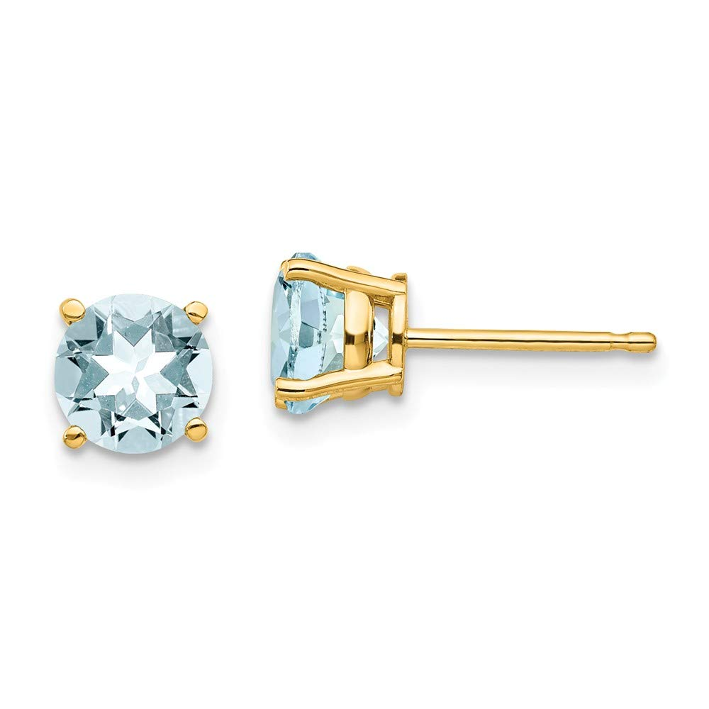 14k Yellow Gold Blue Aquamarine Post Stud Earrings Birthstone March Gemstone Fine Jewelry For Women Gifts For Her