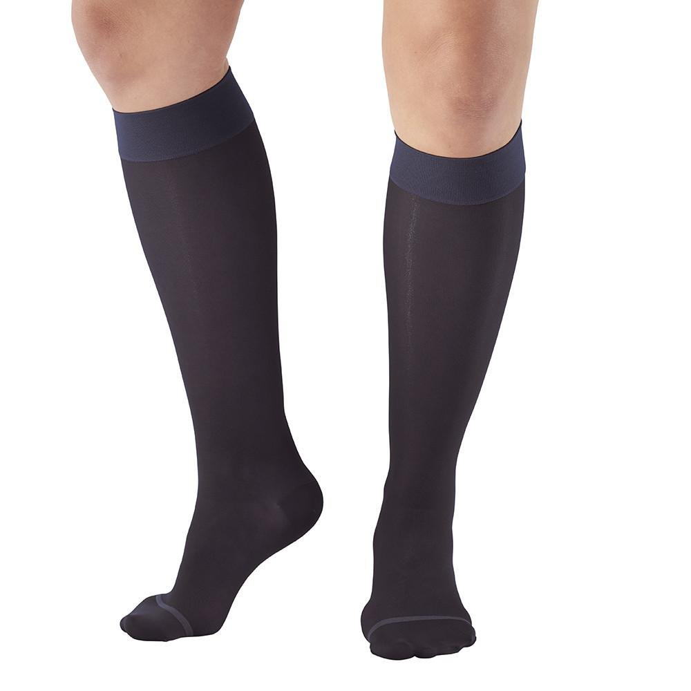 Ames Walker AW Style 16 Sheer Support 15 20mmHg CT Knee High Stockings DkNavy