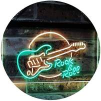 """ADVPRO Rock & Roll Electric Guitar Band Room Music Dual Color LED Neon Sign Green & Yellow 12"""" x 8.5"""" st6s32-i2303-gy"""