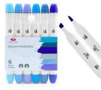Pantone Color of the Year! Professional Brush Tip Markers Set of 6 Blue Colored Manga Markers for Drawing Sketching Illustration - Tones of Dark Light Navy Blue