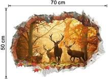 INSLOMSA 3D Deer Sticker Birch Tree Wall Decal Autumn Maple Leaf Fallen 50×70 cm Kids Bedroom Decor