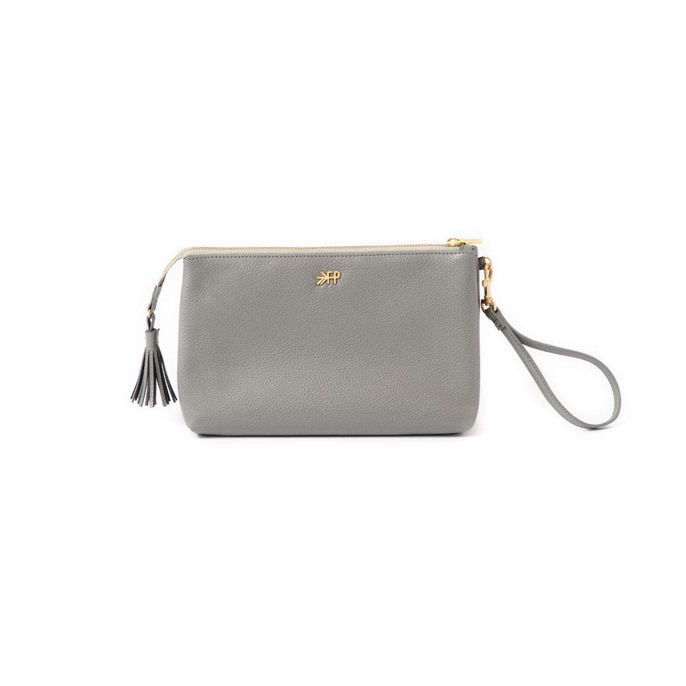 Freshly Picked - Classic Zip Pouch - Diaper Bag Accessory - Vegan Leather Clutch Wallet - Stone Gray