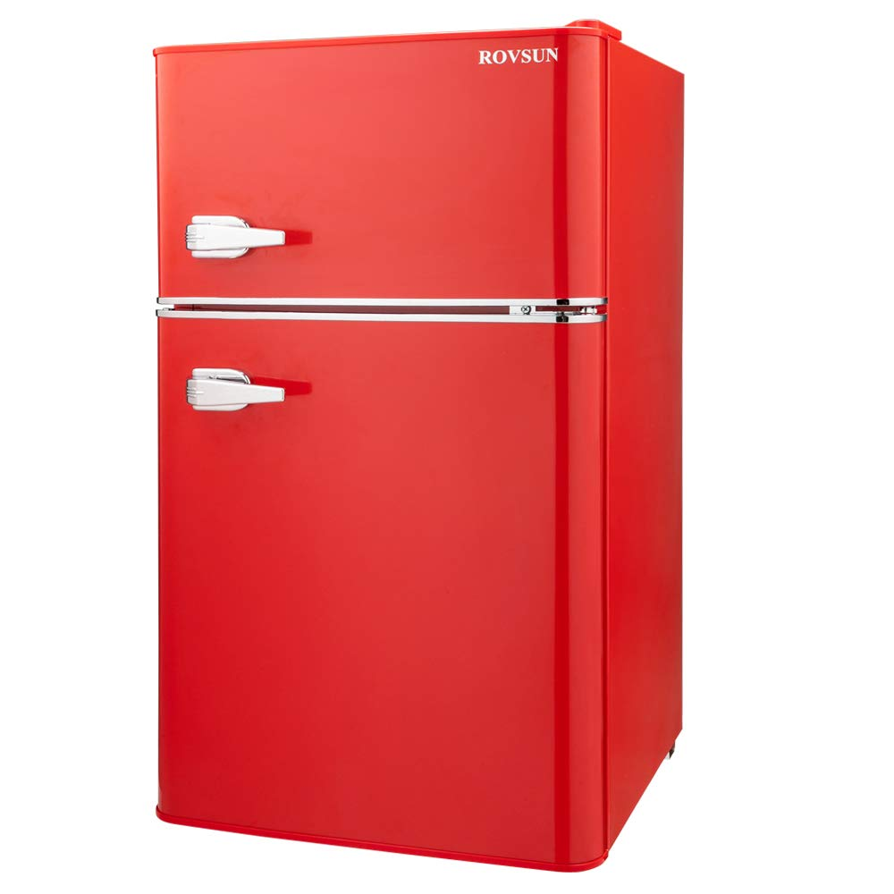 ROVSUN Double Door Compact Refrigerator with Freezer, 3.2 CU FT Mini Fridge for Bedroom Office Dorm with Removable Glass Shelf (Red)