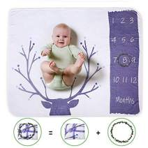 """Alpha Belle Baby Monthly Milestone Blanket Soft 1-12 Months Infant Growth Photo Blanket with Props for Newborn Baby Boys Girls(47""""×40""""-Deer)"""