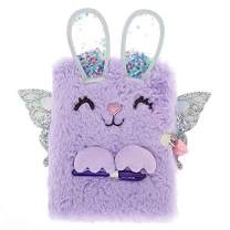 Claire's Plush Lock Diary for Girls, Bella The Bunny, Purple, Includes Lock with 2 Keys and Pen, 6x8 Inches
