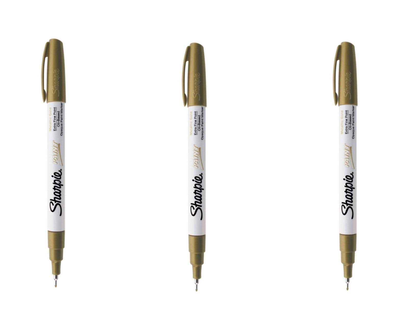 Sharpie Oil-Based Paint Marker, Extra Fine Point, Gold; Works On Virtually Any Surface - Metal, Pottery, Wood, Rubber, Glass, Plastic, Stone, and More; Pack of 3 (35532)
