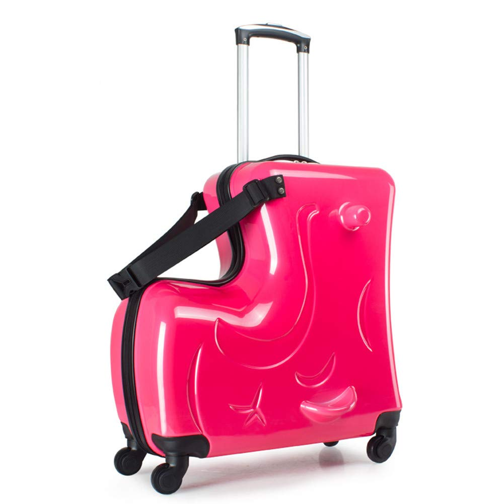 O-Toys 2 in 1 Kids Suitcase Ride-on Luggage with Spinner Wheels Kids Travel Carry-on Toys Waterproof Storage Box for Boys Girls Toddlers Pink