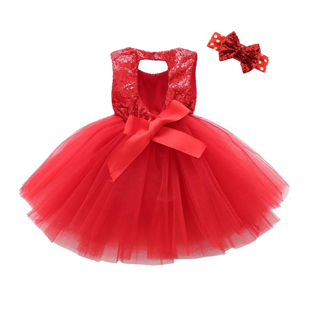 YENYEE Baby Girls Sequins Tutu Dress Stretchy Toddler Kids Tulle Dress with Bowknot for Wedding Pageant Birthday Party