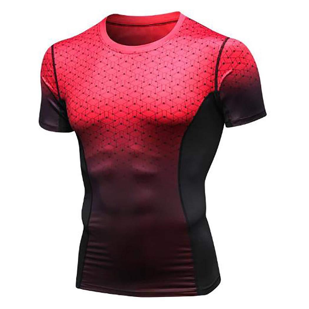 Aimado Men's PRO Fitness Short Sleeve Print Gradient Sports Running High Velocity Dry Drying T-Shirt