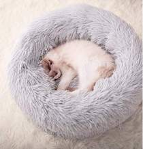 Gavenia Cat Beds for Indoor Cats -20''x20'' Washable Donut Cat and Dog Bed,Soft Plush Pet Cushion,Waterproof Bottom - Fluffy Dog and Cat Calming & Self-Warming Bed for Sleep Improvement (Grey)
