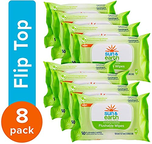 Flushable Wipes, Biodegradable, Unscented by Sun & Earth, Resealable for Travel, 50Count, Pack of 8