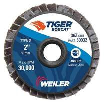 "Weiler 50932 2"" Bobcat Mini Abrasive Flap Disc, Flat (TY27), Type S Mount, 36Z (Pack of 10)"