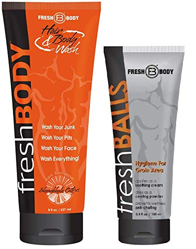 FRESH BALLS and FRESH BODY WASH! Fresh Balls Antiperspirant 3.4 oz and All-In-One Hair & Body Wash 8 oz!
