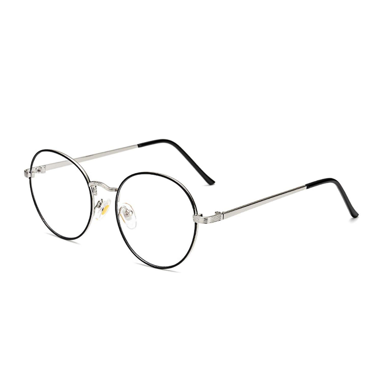 Blue Light Blocking Computer Glasses Retro Round Metal Frame Minimize Digital Headache Anti Eyestrain Lens Lightweight Eyeglasses Tablet Reading/Gaming/TV/Phones Glasses,Men/Women (Silver&Black Frame)