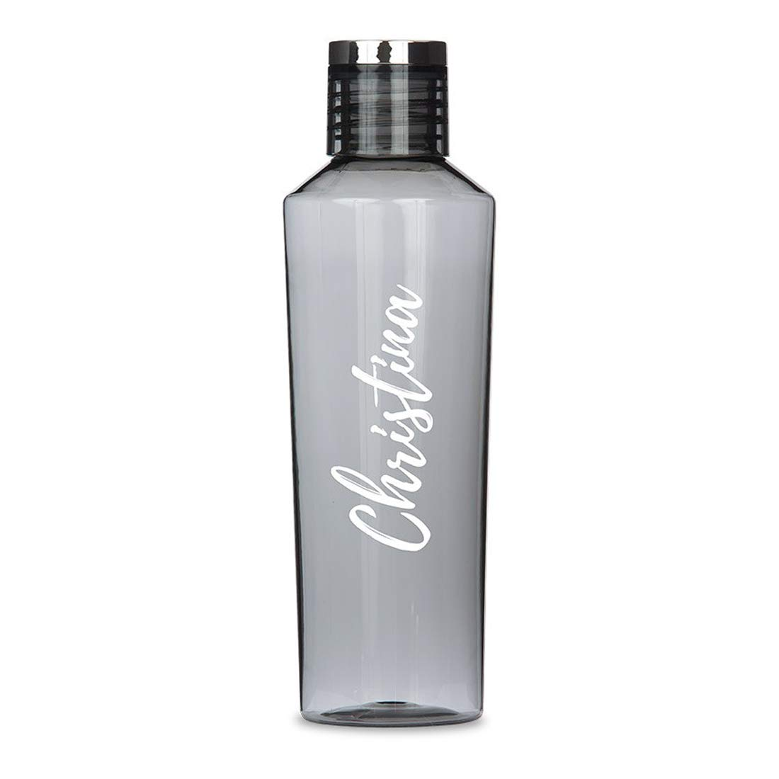 Weddingstar Personalized Tritan Plastic Water Bottle 27oz – Reusable Customizable Eco-Friendly Plastic Water Bottle – 100% BPA-Free Environmentally Friendly Canteen - Calligraphy Print Charcoal