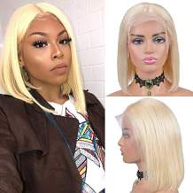 OYM Hair 613 Long Straight Bob Lace Front Wigs Human Hair Short Cut Blonde Bob Wig Remy Hair Wig with Full Ends Middle Part 13x4 Frontal 613 Lace Wig 130% Density 16inch