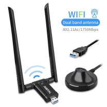 1750Mbps USB WiFi Adapter Aigital WiFi Adapter with USB3.0 Stand Base for PC,WiFi Dongle Wireless Network Adapter with Dual Band 5dBi High Gain Antenna for Desktop Windows XP/Vista/7/8/10 Linux Mac