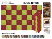 """Acepunch 40 Pack RED AND YELLOW Egg Crate Convoluted Acoustic Foam Panel Studio Soundproofing Wall Tiles Sound Insulation 19.6"""" x 19.6"""" x 1.1"""" AP1052"""