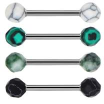 OUFER 4PCS 316L Stainless Steel Tongue Rings Barbell Faceted Stone Tongue Piercing Jewelry