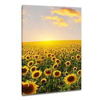 DVQ ART- Sunflower with Sunset Wall Art Painting, Beautiful Landscape Print on Canvas, Framed Print Poster for Living Room Bedroom Decor 1 Pcs