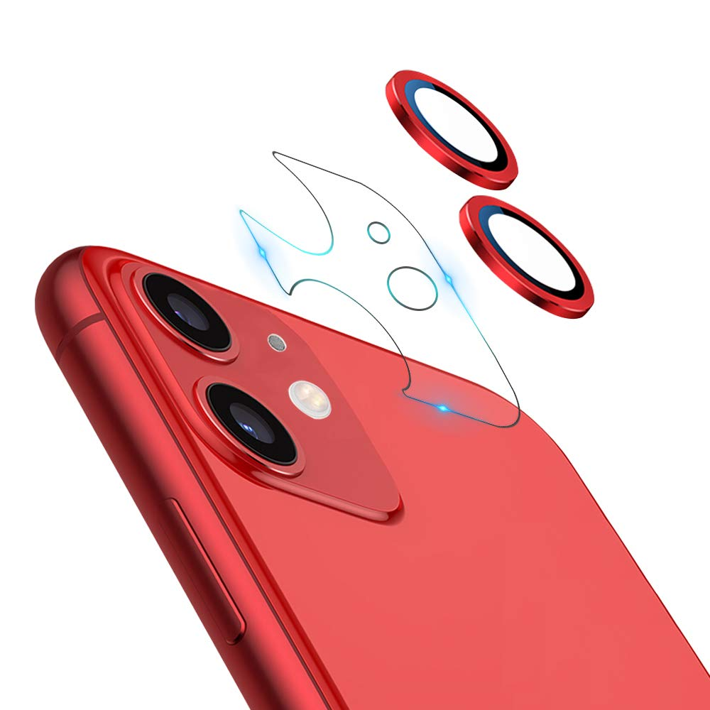 """JOLOJO Camera Lens Protector for iPhone 11(6.1""""),9H Hardness HD Tempered Glass Screen Protector Anti-Scratch Full Coverage Metal Cover Ring Ultra Thin/Clear - Red 2019(Set of 2)"""